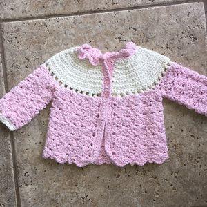 Handmade Crochet Girls Sweater Jacket